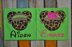 Personalized Embroidery Safari Minnie and by EmbroiDeLisDesigns Mickey Mouse Shirts, Disney World Planning, Vacation Shirts, Trim Color, Animal Kingdom, Walt Disney, Colorful Shirts, Safari, Projects To Try