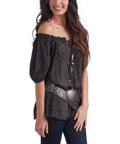 Charcoal Damask Stripe Tahulah Off-Shoulder Tunic