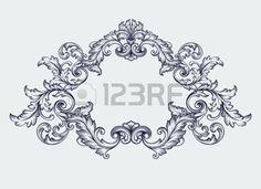fleur baroque: cadre de conception de défilement baroque millésime