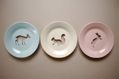 I really love the colours of these plates and cute animals - woodland babies
