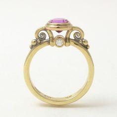 Caleb Meyer Studio Cushion Cut Pink Sapphire Ring;  Archive #3225