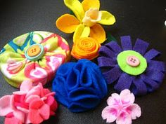 Felt Flower Tutorials by Celeste   Neat idea, maybe to make headbands for Hayley in the future and pins for her backpack.