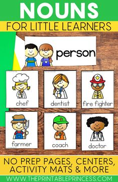 Picture sorts, centers, no prep pages, and display posters to help you introduce the concept of nouns to your students. The activities are designed to help students be able to recognize and classify a noun as a person, place, thing, or animal.  The pages included are easy to prep and most importantly, little learner friendly. These activities provide a fun, hands-on approach to teaching nouns. Activities are included for whole group, small group, and independent learning stations.