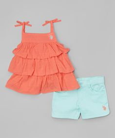 Look at this Georgia Peach & Teal Ruffle Tank & Shorts - Toddler & Girls on #zulily today!