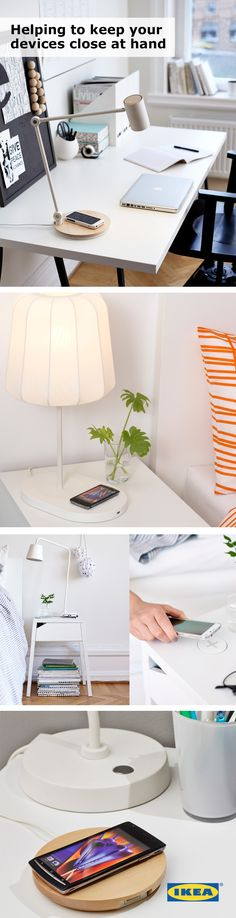 Charge your phone while you're sleeping, studying or hanging out! IKEA wireless chargers can easily be placed anywhere in your college space that you need them the most. #IKEAStudyInStyle