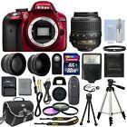 Nikon D3300 Digital SLR Camera Red + 3 Lens: 18-55mm VR Lens + 32GB Bundle