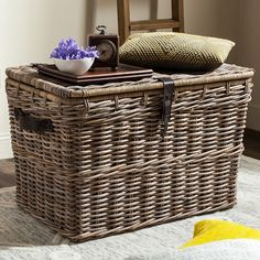 Add rustic charm to your breezy space with this Safavieh Amancio wicker trunk. Wicker Trunk, Wicker Baskets, Coffee Table Redo, Coffee Tables, White Wicker Furniture, Upcycled Home Decor, Interior Design Living Room, Kitchen Interior, Rattan