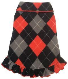 Cozy Classic Red/Black Argyle Plaid Fleece Pullover Tank Dress