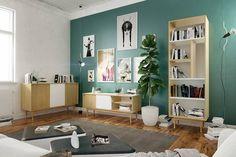 Komoda Skandica ELZA E02 na dębowych nogach - Internetowy sklep meblowy Onemarket.pl - Nowoczesne meble, Designerskie meble #nowoczesnemeble #meble #skandynawskistyl #mebleskandica #komoda #regał #rtv #komodartv #drewnoibiel Komodo, Shelving, Gallery Wall, Home Decor, Products, Living Room, Shelves, Decoration Home, Room Decor