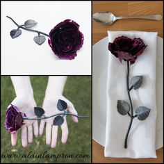 Hand-forged iron magenta rose from AlainsBlacksmithShop.  Who can denied the beauty of a rose?! Find yours at www.alainlampron.com in a fair price! Personal note can be engraved on one of the leaves or at the additional base. This metal sculpture is a perfect present for other people & to yourself. Fast shipping from Quebec-Canada, this handmade product also available to shop on Etsy/Amazon #beautifulrose #valentinesgift #handmadegift #irongift #sixthanniversarygift #metalflower…