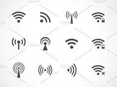 Wireless and wifi icons by Microvector on @creativemarket