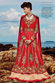 Stylish Red Georgette Party wear Floor Touch Anarkali Suit