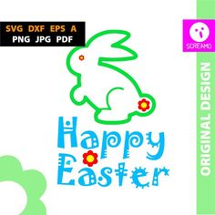 Happy Easter SVG Bunny cut files vector clipart printable