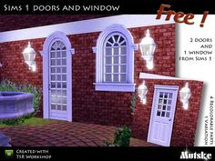 """""""Sims 1 Doors and Window"""" by Mutske.  Free.  Set includes 2 doors and a window.  Recolorable."""