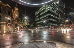 Adelaide City by night - King William, Waymouth and Pirie Streets Intersection