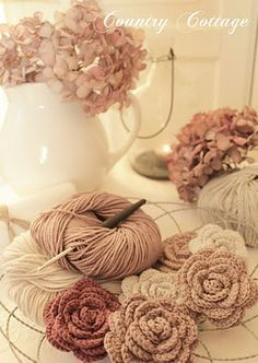 crocheted roses & hydrangeas...