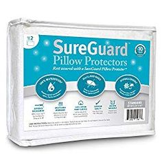 Set of 2 Standard Size SureGuard Pillow Protectors - Waterproof, Bed Bug Proof, Hypoallergenic - Premium Zippered Cotton Terry Covers - 10 Year Warranty *** Special offer just for you. : Children's Room Home Decor Pillow Set, Pillow Covers, Pillos, Feather Pillows, Toddler Travel, Pillow Protectors, Bed Bugs, Mattress Protector, Dust Mites