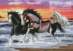 Horses on a Beach - cross stitch pattern designed by Tereena Clarke. Category: Horses.
