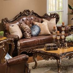 Bronze and Leather Sofa