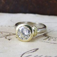 2ct #Diamond & 18ct Yellow & White Gold Delphi #UniqueEngagementRing by #AlexisDove