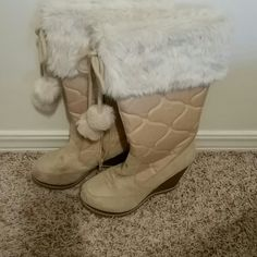 Capuccino-colored snow boots with pompoms Length less than 16 in long. 4 in heels. Never wore them. Threw out the box. Soda Shoes