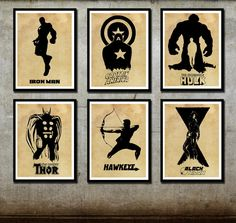 Avengers Poster Set 6 Posters Captain America Iron By Foxanddragon 59 99 For When