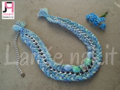 Mint and blue necklace.