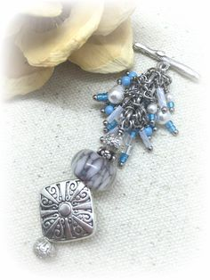 Handmade interchangeable beaded pendant necklaces pewter dangles handmade lampwork glass beaded necklace interchangeable design attach pendant to available stainless steel or aloadofball Choice Image