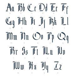 "NOF: Blackletter Modern Gothic Font #Source: Creative Market #Function: Typeface was designed for purchase #Designer: ""Supermne"" #Description: Modern Gothic Alphabet has rigid straight vertical strokes with only light ornamentation/details"