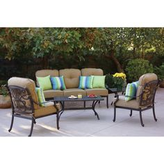 Darlee Santa Monica 5-Person Patio Conversation Set - Right depth for all items.