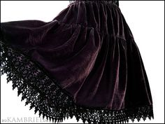 Silk Velvet Tiered Skirt in Aubergine with Black Lace by kambriel, $95.00