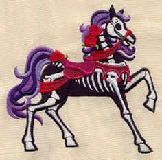 Haunted Skeleton Carousel Horse Embroidered Flour Sack Hand/dish Towel