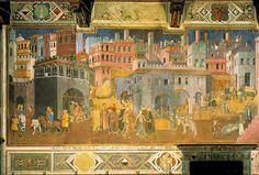 Effects of Good Government on the City Life (detail), fresco in the Palazzo Pubblico, Siena