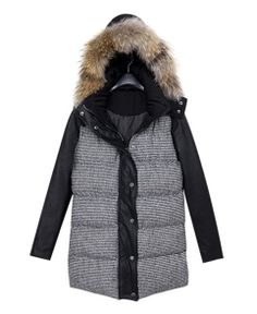 Houndstooth Fur Collar Hooded Down Coat