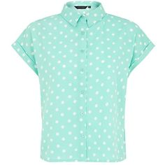 Mint Green Polka Dot Boxy Cropped Shirt (37 BRL) ❤ liked on Polyvore featuring tops, blouses, shirts, t-shirts, short-sleeve button-down shirts, button down blouse, short sleeve button down shirts, short-sleeve shirt and short sleeve shirts
