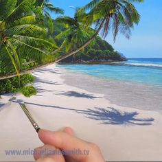 Painting Lessons, Painting Tips, Acrylic Painting Canvas, Painting Techniques, Painting Art, Easy Landscape Paintings, Nature Paintings, Landscape Art, Beach Paintings