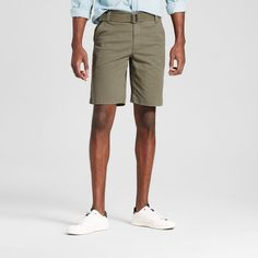 Men's Belted Flat Front Chino Shorts with Stretch