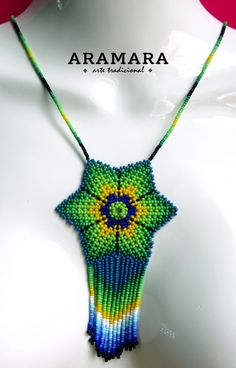 Your place to buy and sell all things handmade Mexican Jewelry, Green Flowers, Flower Necklace, Bead Art, Collar, Beaded Earrings, Beads, Christmas Ornaments, How To Make