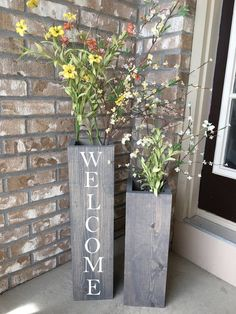 large wooden porch vases welcome sign reclaimed wood rustic floor vases farmhouse decor large floor vase porch decor set of 2 Tall Vase Decor, Vases Decor, Floor Vase Decor, Porch Vases, Small Front Porches, Front Porch Flowers, Planters For Front Porch, Country Front Porches, Porch Planter