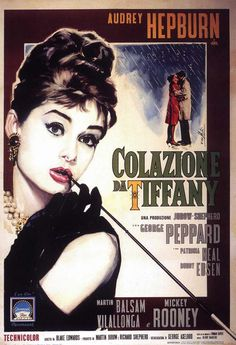 This rare Italian Breakfast at Tiffany's Poster measures 27 x 40 inches. Breakfast at Tiffany's is a 1961 romantic comedy film starring Audrey Hepburn and George Peppard, and featuring Patricia Neal, Buddy Ebsen, Martin Balsam, and Mickey Roo. Audrey Hepburn Poster, Audrey Hepburn Movies, Breakfast At Tiffany's Poster, Breakfast At Tiffany's Movie, Breakfast At Tiffanys, Italian Breakfast, Movie Posters For Sale, Classic Movie Posters, Classic Movies