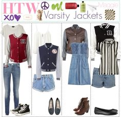 """""""HTW: Varsity Jackets"""" by the-amazing-tip-chickas ❤ liked on Polyvore"""