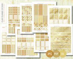 Free Monthly Printable Planner Stickers Set - Gold Glitter - Erin Condren