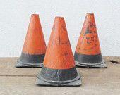 Vintage metal traffic cones