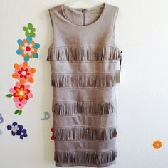 CK Faux Suede Fringe Dress Size 6 Brand new. Fringe Meets with Classic. Give a try. Calvin Klein Dresses