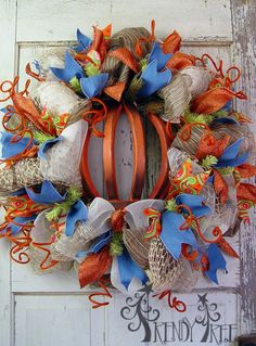 Autumn Pumpkin Wreath Tutorial - Visit the Trendy Tree Blog for written instructions and lots more images. http://www.trendytree.com/blog/autumn-wreath-pumpkin-tutorial/  #TrendyTree