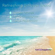 This diffuser blend is so refreshing, thus the title. Uses orange, lemongrass and peppermint essential oils. www.gotoilsupplies.com