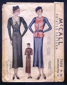 McCall 7606 | ca. 1933 Ladies' & Misses' Dress