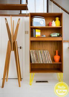 Hello Retro Design G-Plan Bookcase on Yellow Hairpin Legs front view portrait