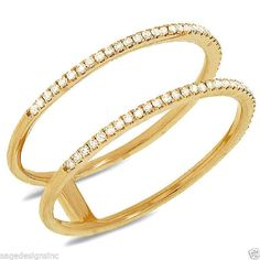 0.17CT 14K Yellow Gold 2 Ring Diamond Cocktail Fashion Right Hand Statement Band #SageDesignsLA #Band