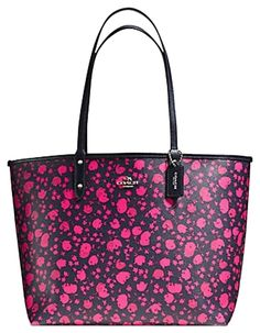 Prairie Bnwt Reversible Tote F55862 Black Pink Canvas Shoulder Bag 8f4502c51fb2b